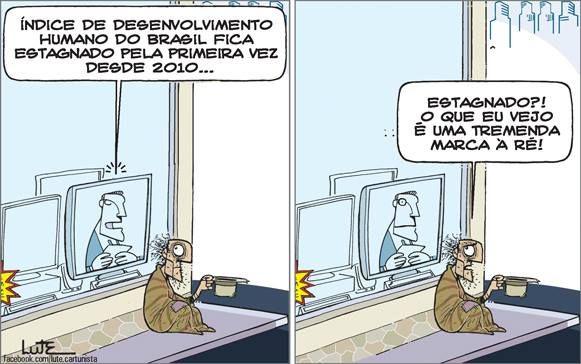 Charge do Lute sobre o IDH do Brasil (22/03/2017) #Charge #IDH #IndiceDeDesenvolvimentoHumano #Brasil #HojeEmDia