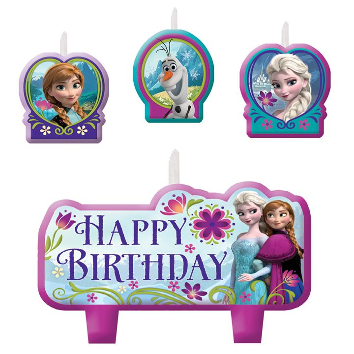 Disney Frozen: Birthday Candle Set 4 Pk Party Supplies