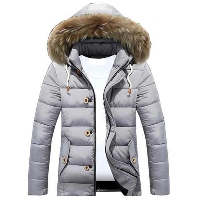 d88d3065d Mens jacket puffer warm winter slim fit coat full zip faux fur ...