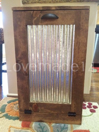 Rustic Tilt Out Trash Bin Trash Can With Corrugated By