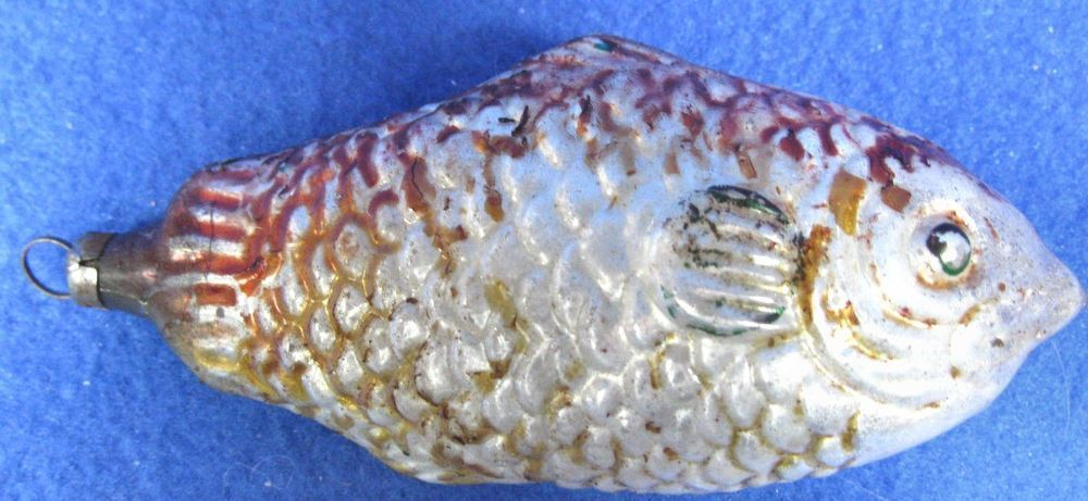 Vintage Old Fish Glass Christmas Ornament