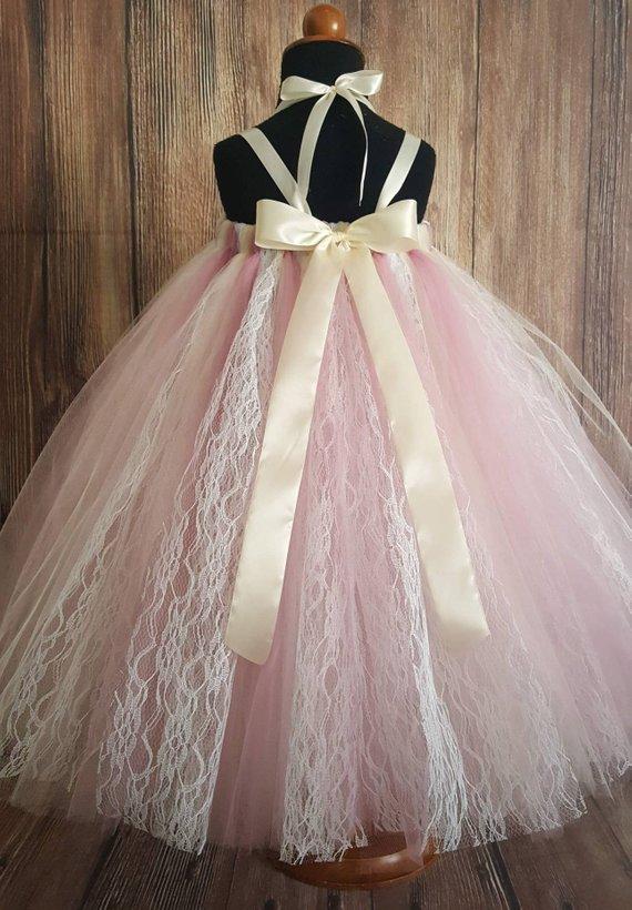Mauve Pink Ivory White Lace Sewn Tutu Dress Custom Made Up