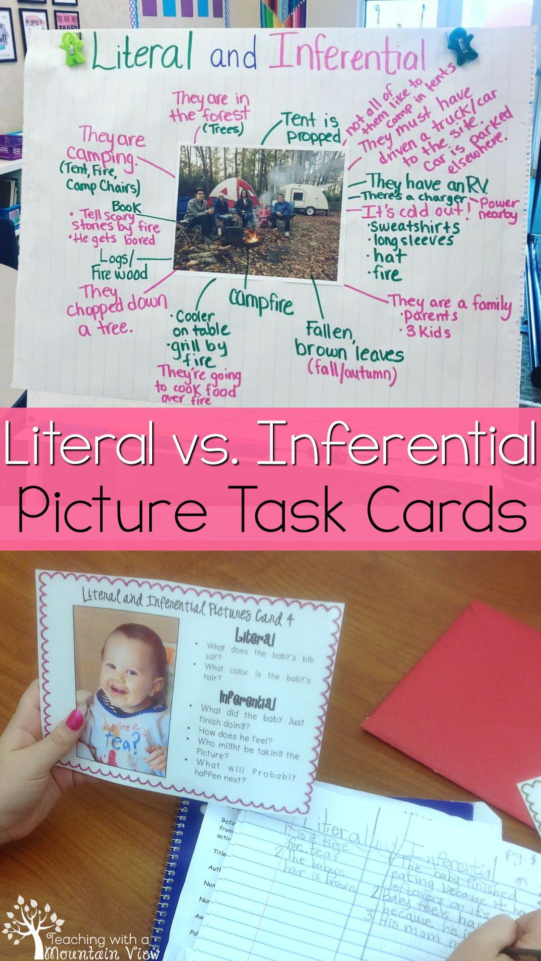 Literal Vs Inferential Pictures Task Cards Inference In