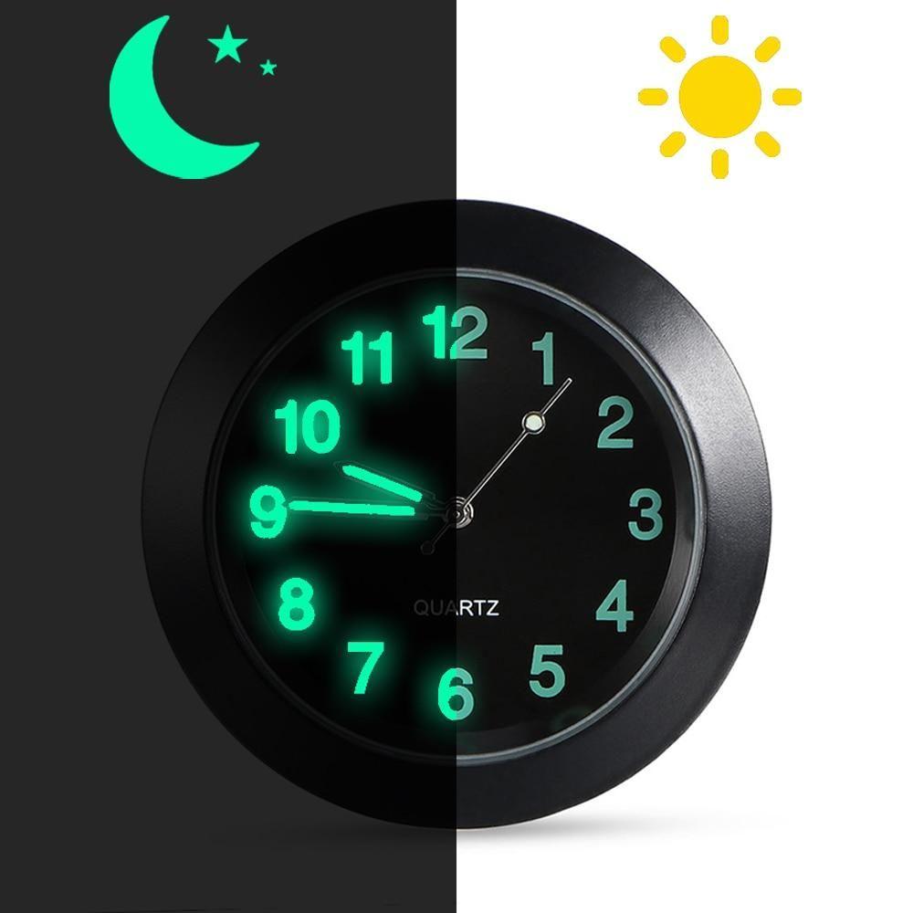 Car Dashboard Clock Car Quartz Clock Luminous Stick-On Clock