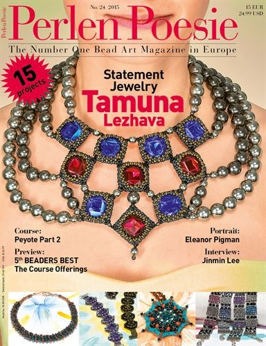 Issue 24 Perlen Poesie bead weaving magazine. 15 projects with seed beads, czech glass, crystals, and more.