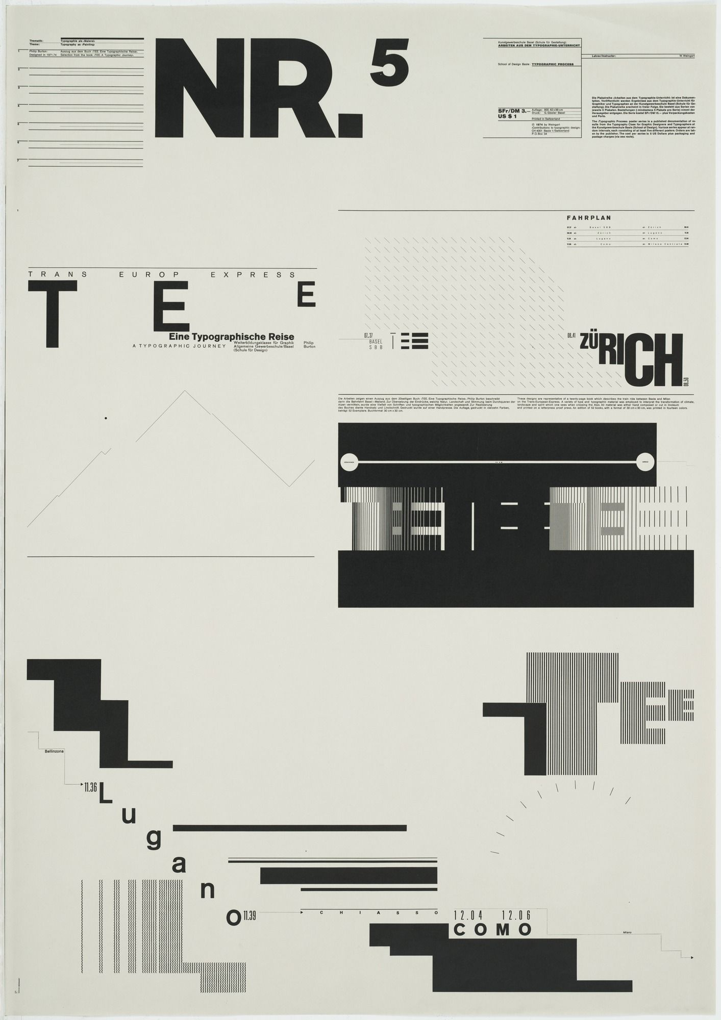 "Wolfgang Weingart. Typographic Process, Nr 5. Typography as (Painting). 1971-1974. Lithograph. 34 1/2 x 24 1/4"" (87.6 x 61.6 cm). G. Gissler Basle. Jürg Zumtobel Purchase Fund. 264.2002.5. © 2017 Wolfgang Weingart. Architecture and Design"
