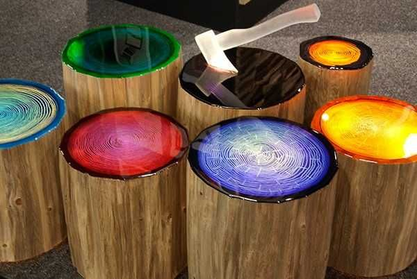 Spectacular Lighting Ideas Add Color To Wood Furniture With Tree Growth Rings