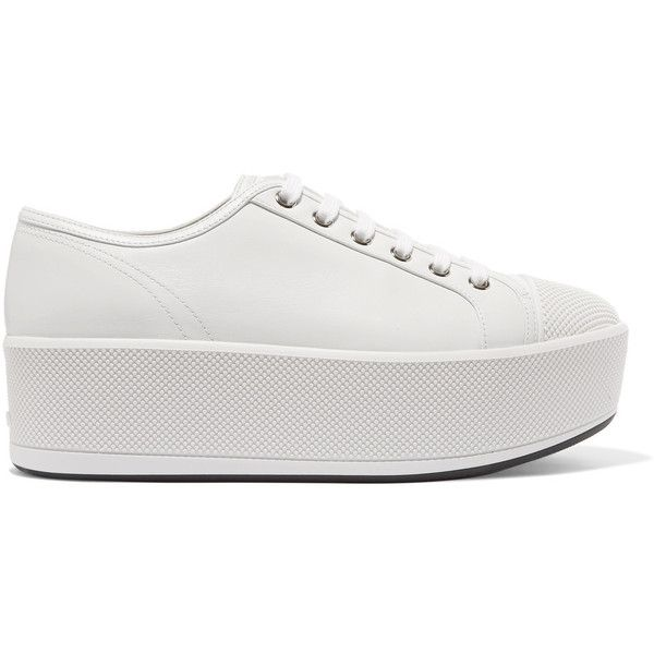 Prada Linea Rossa leather platform sneakers (21.805 RUB) ❤ liked on  Polyvore featuring shoes