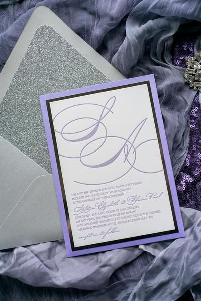 JESSICA Suite Panel Pocket Package, purple and silver letterpress - formal invitation style