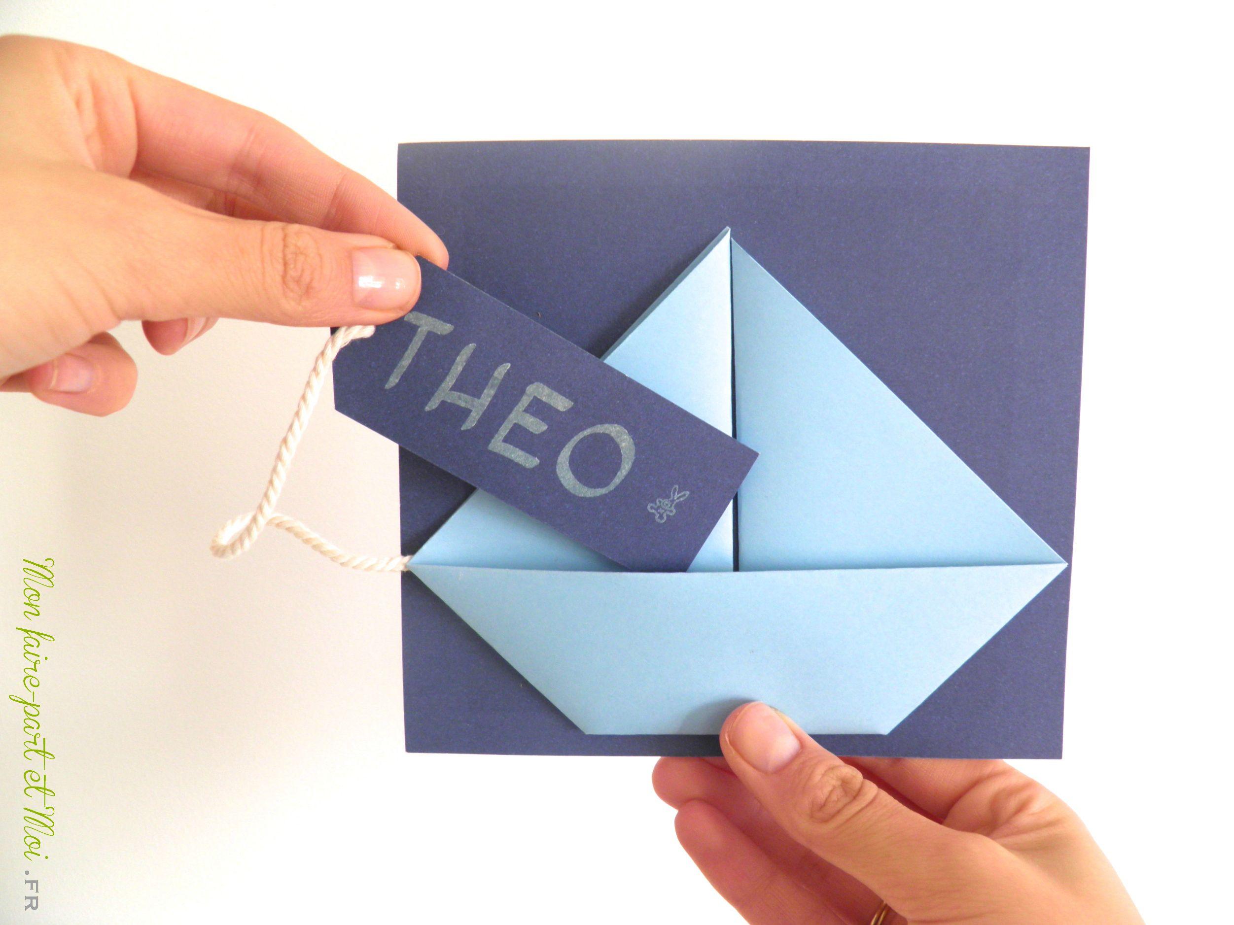Faire Part Naissance Original Origami Garcon Bateau Carte