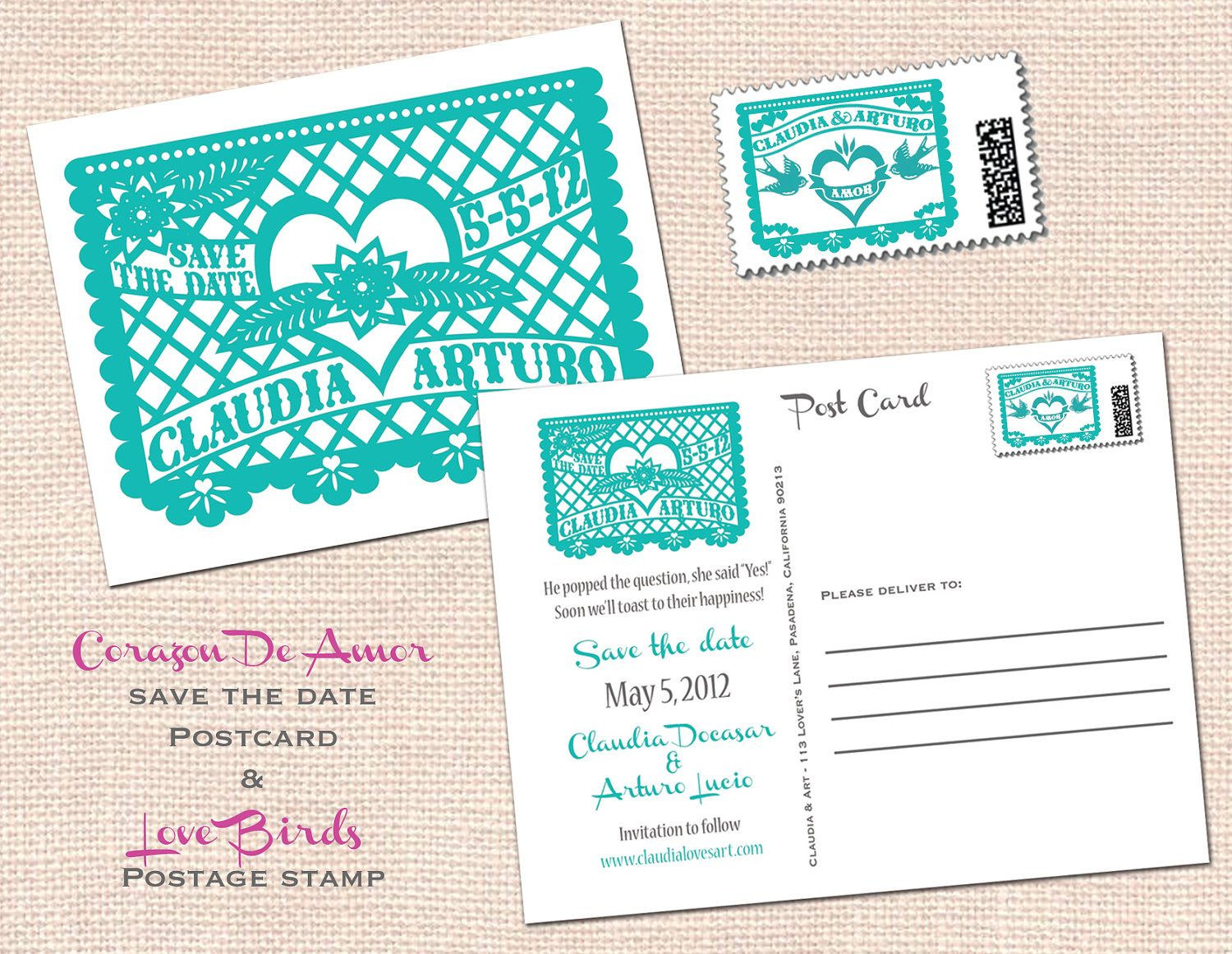 Corazon De Amor Save The Date Postcard Papel Picado Fiesta Wedding