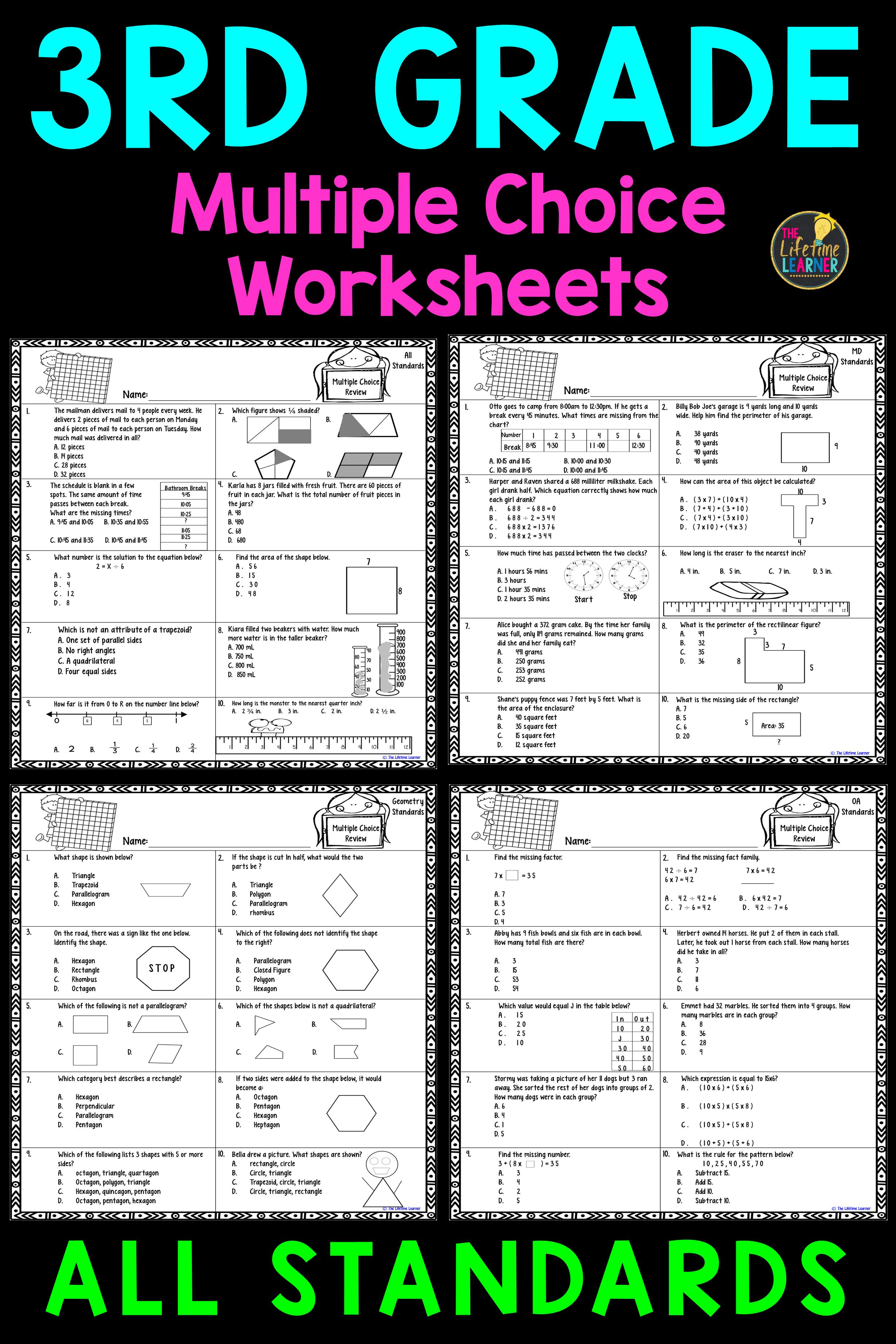 3rd Grade Multiple Choice Worksheets | Math worksheets, Morning work ...
