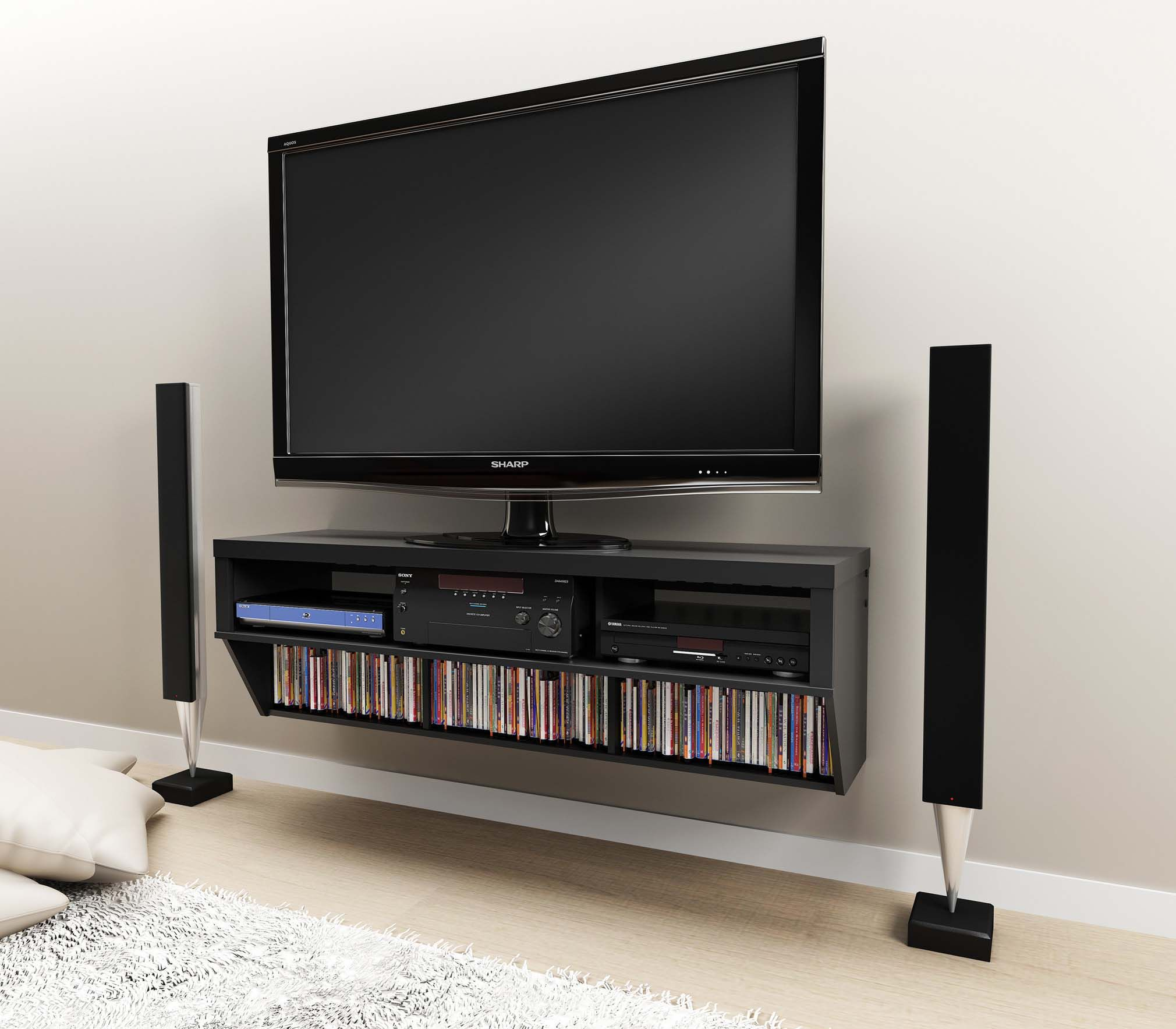 Details About 58 Altus Floating Wall Mounted Console Tv Stand W Cd