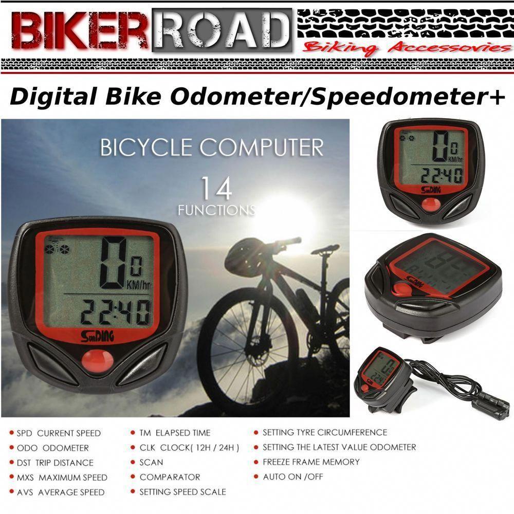 Biker Road Bike Odometer Speedometer 14 Functions Water