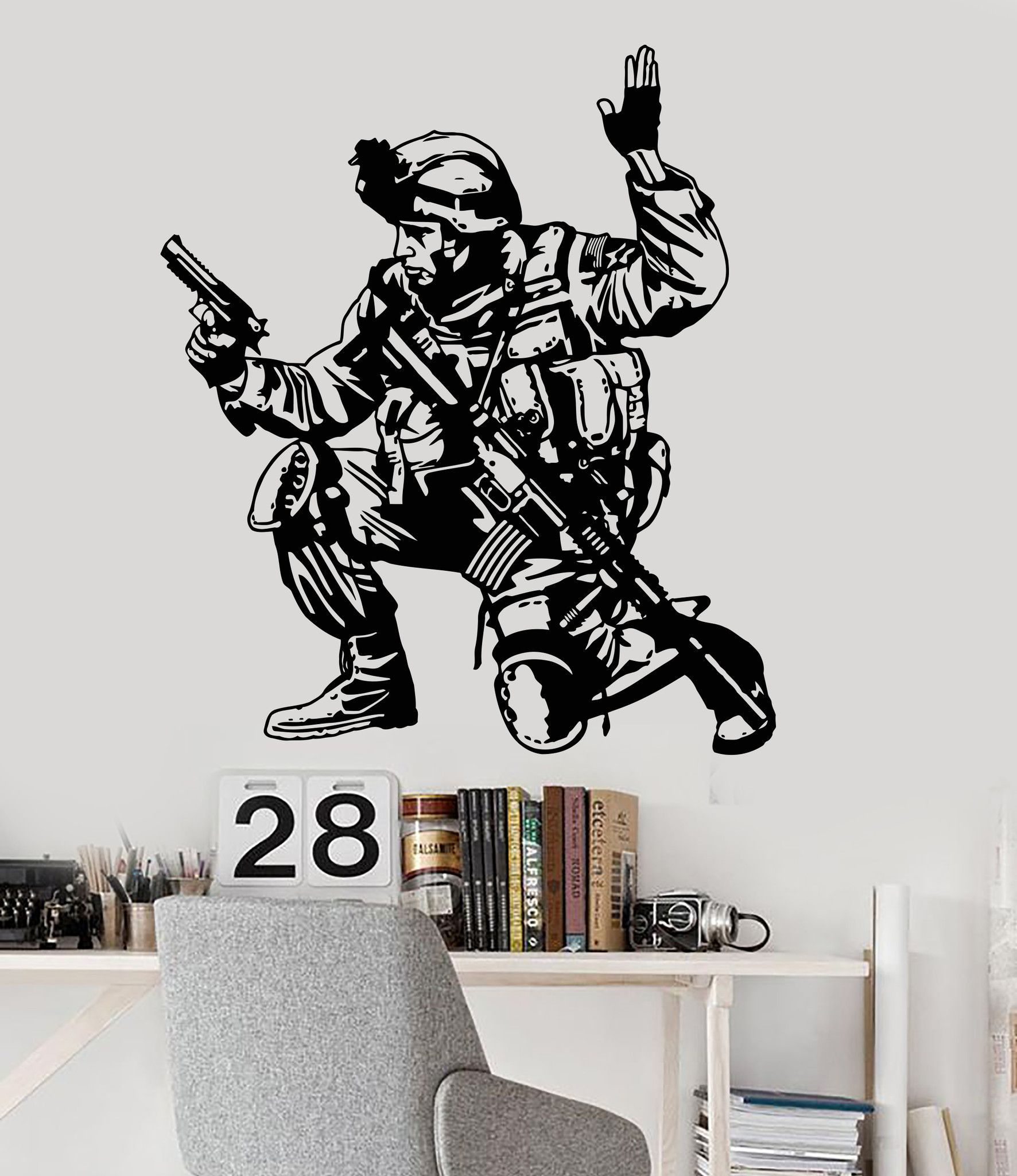 Vinyl Wall Decal Soldier Military War Boys Room Special Forces Stickers Unique Gift 097ig Vinyl Wall Decals Vinyl Wall Wall Decals [ 2048 x 1772 Pixel ]