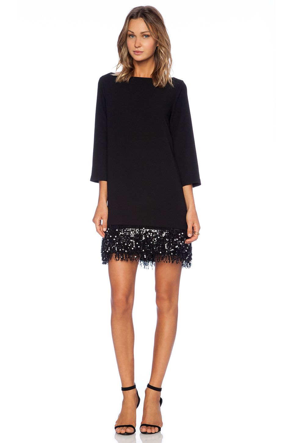 kate spade new york Sequin Fringe Mini Dress en Negro | REVOLVE