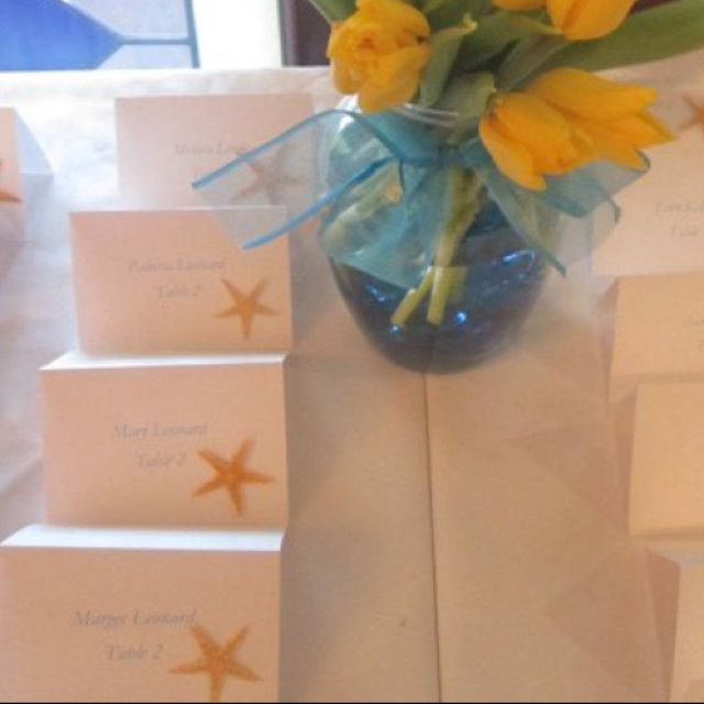 Seating cards for beach wedding bridal shower. Star fish seating cards.