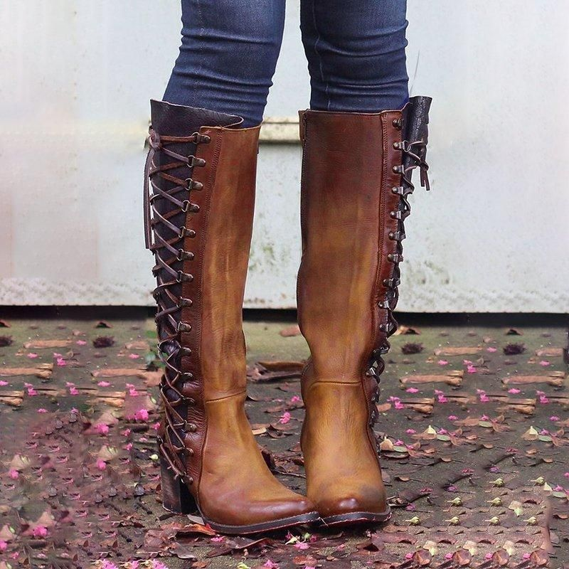 dce994ec73fbb Women Vintage Lace Up Boots European Style Size Zipper And Lace Above Knee  Boots