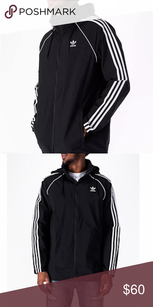 84c10426efca Men s size XXL Black with 3 white stripes Hooded zip lightweight jacket.  Smoke free home adidas Jackets   Coats Windbreakers