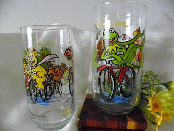 Set Of Two Muppets Glass Water Tumblers  by MillersHollowGifts