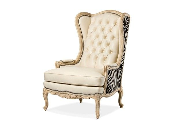 Furniture Charming High Back Chairs For Living Room Using Wooden Carved Legs Also Cushion Replacement Covered By Cream Leather With Black And White Animal