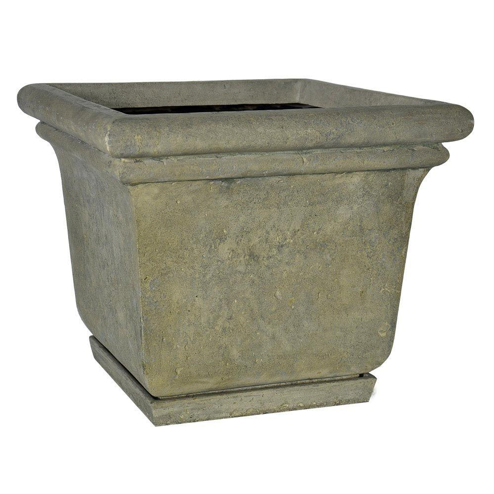 Mpg 24 In Square Cast Stone Planter With Attached Saucer In Aged Granite Finish Pf5762ag Stone Planters Cast Stone Planter Pots Outdoor