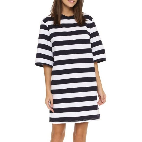 The Fifth Label Navy & White stripe t-shirt dress Navy & White t-shirt dress oversized fit. I'm a medium and it fits me like the model in picture. Urban Outfitters Dresses