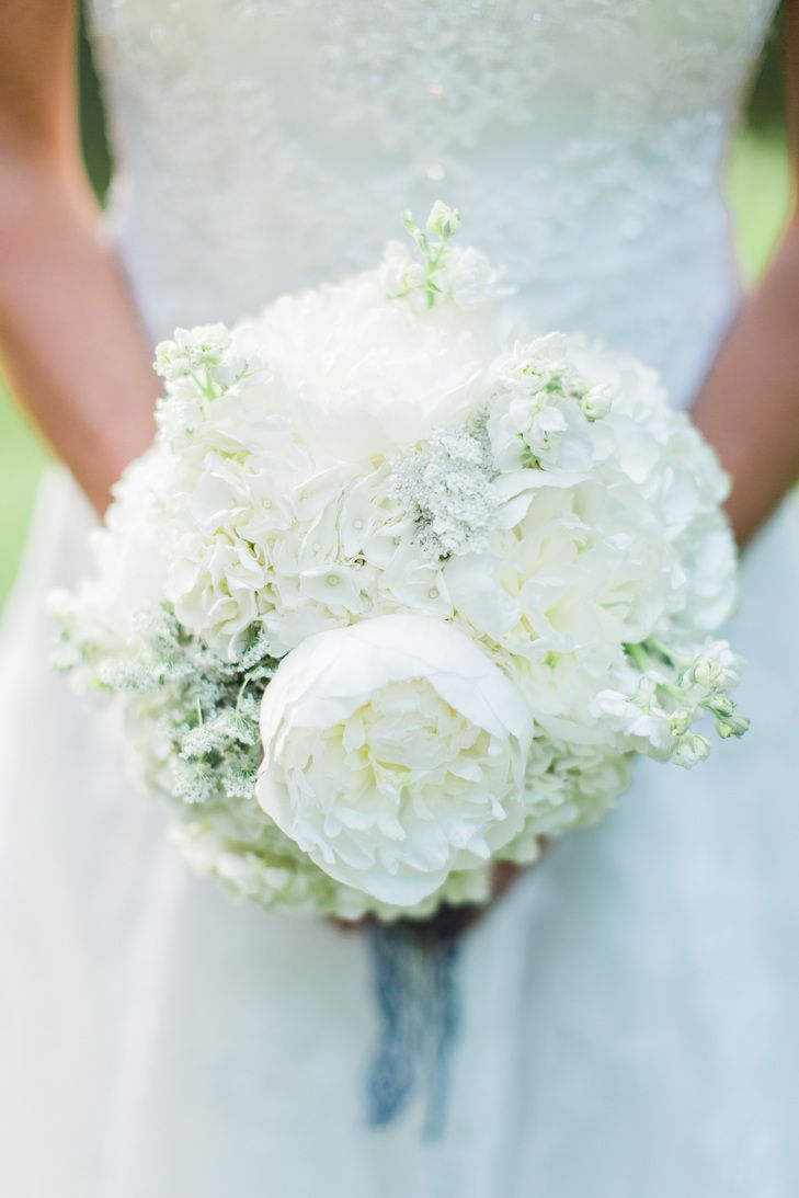 An Elegant Rustic Wedding At Longlook Farm In Sanbornton New Hampshire White Bridal Bouquet Hydrangea Bridal Bouquet Peonies And Hydrangeas