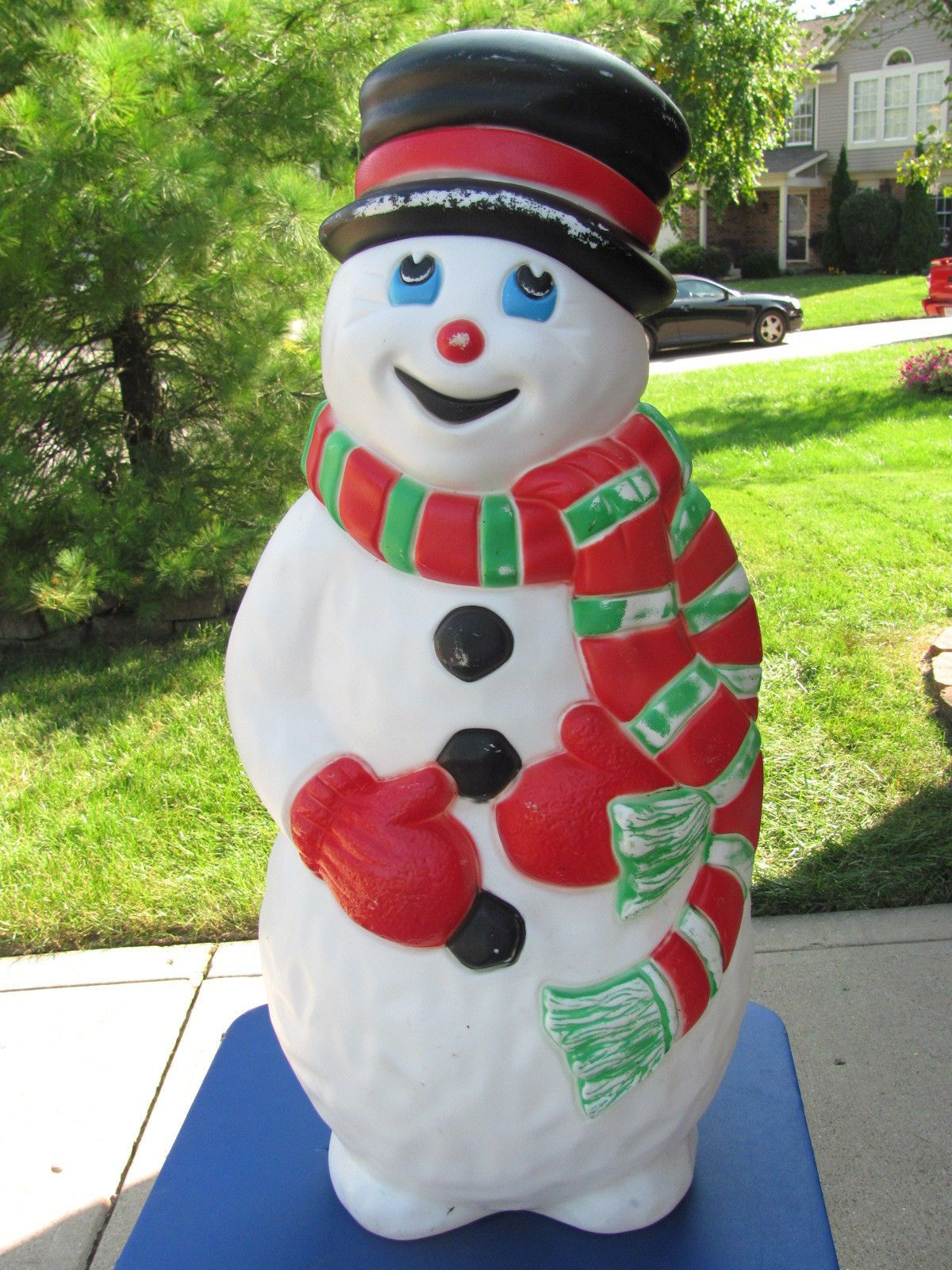 37 034 grand venture snowman red green xmas blowmold light up 37 034 grand venture snowman red green xmas blowmold light up plastic outdoor vtg ebay mozeypictures Image collections