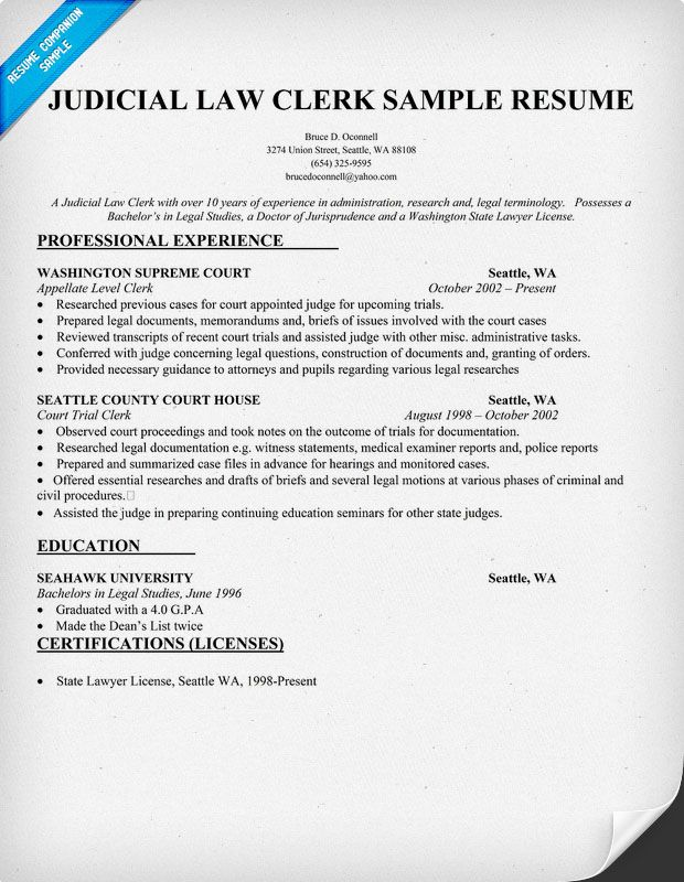 Judicial Law Clerk Resume Sample - Law (resumecompanion - clerk resume