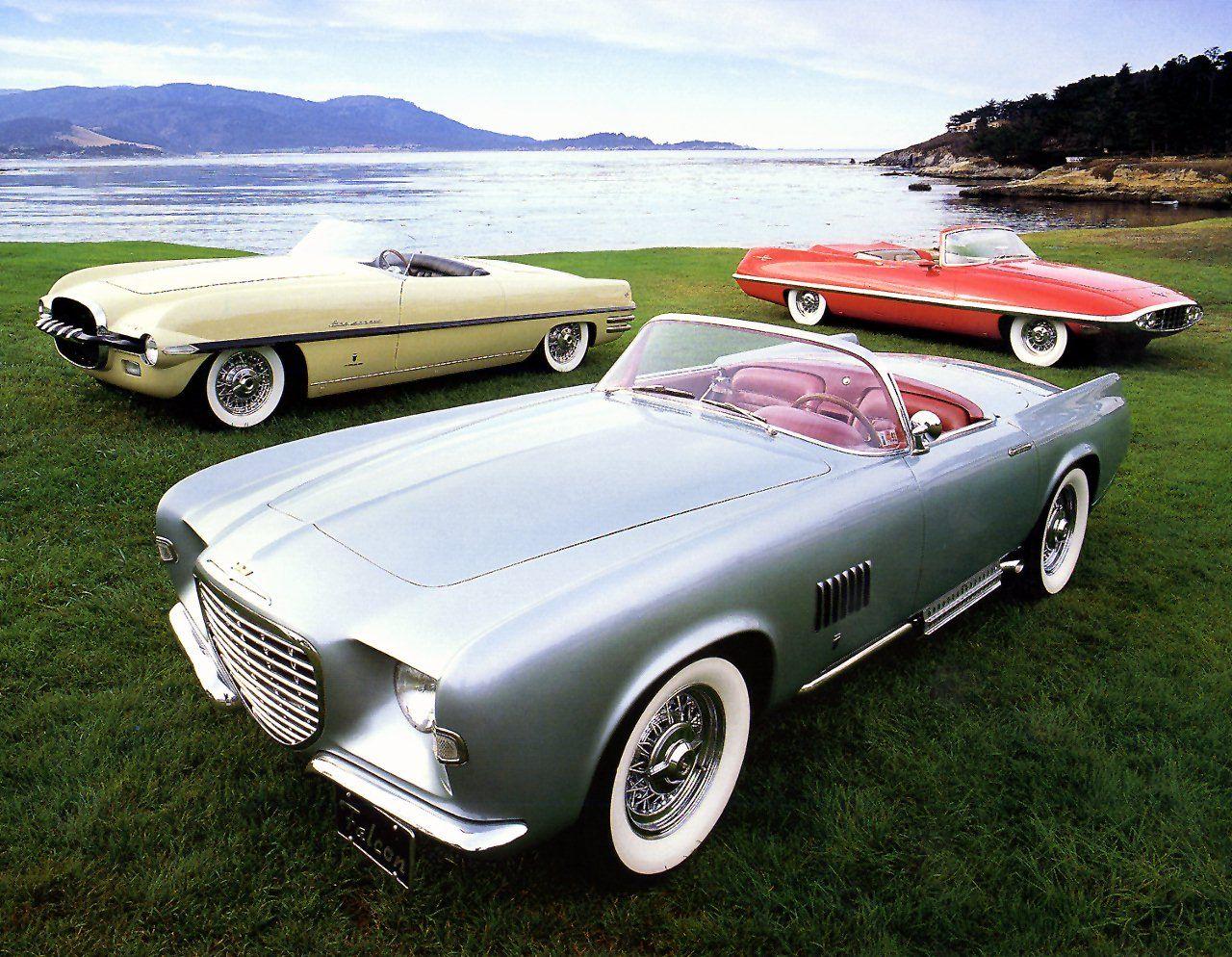 1950's concept cars, 1954 dodge firearrow, 1955 chryser ghia falcon