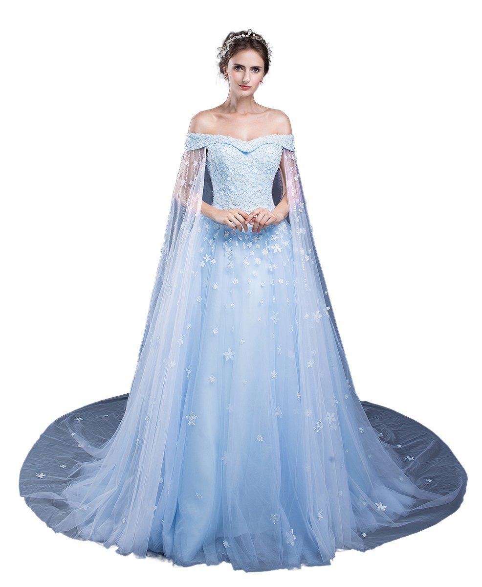 Ruolai off the shoulder princess tulle cape beaded prom party dress