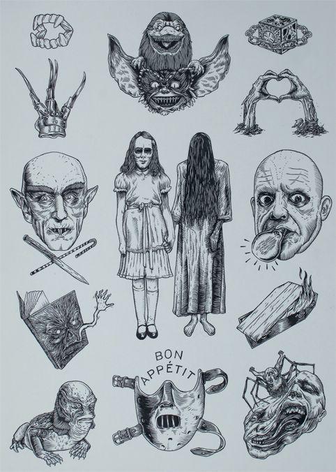 Horror Movie Inspired Tattoo Flash Sheet Movie Tattoos Horror Movie Tattoos Movie Tattoo