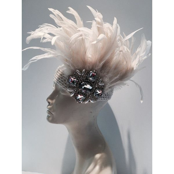 1920s Head Wrap-Gatsby Rhinestone Pearl Headdress-1920s... (5.220 RUB) ❤ liked on Polyvore featuring accessories, hair accessories, black, ties & elastics, wide headbands, wide stretch headbands, rhinestone hair accessories, beaded headband and elastic headbands