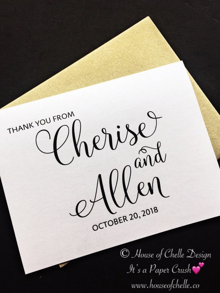 Bridal shower thank you notes with envelopes bridal