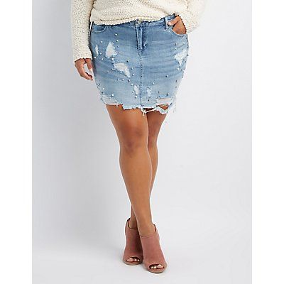 wholesale online sold worldwide the best Plus Size Refuge Destroyed & Faux Peal Denim Skirt in 2019 ...