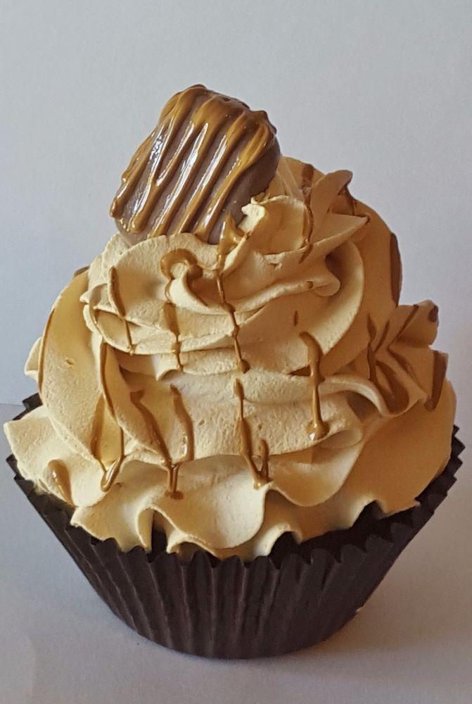Fake cupcake kitchen decor, chocolate / caramel fake cupcake photo ...