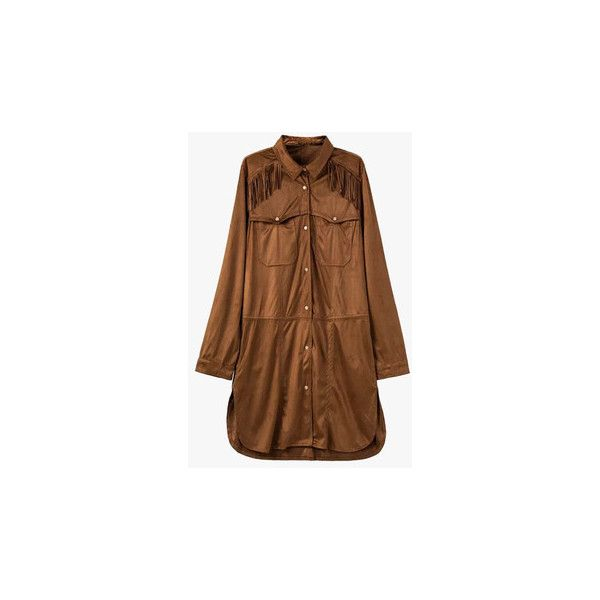 Camel Faux Suede Fringe Mini Dress (1.025 ARS) ❤ liked on Polyvore featuring dresses, camel, camel dress, mini dress, brown dress, short dresses and short fringe dress