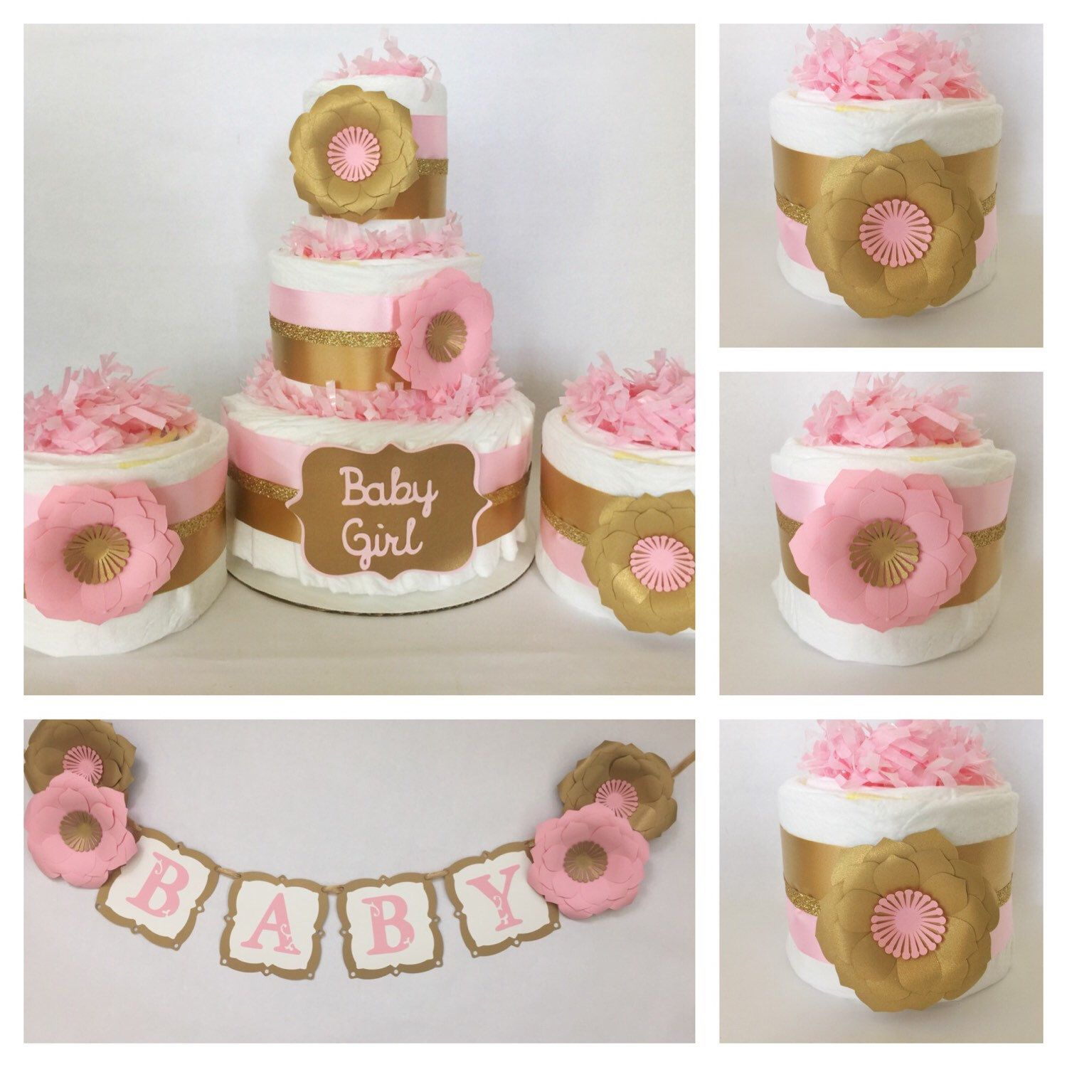 Pink And Gold Baby Shower Party Package, Pink And Gold Baby Shower  Decorations, Pink