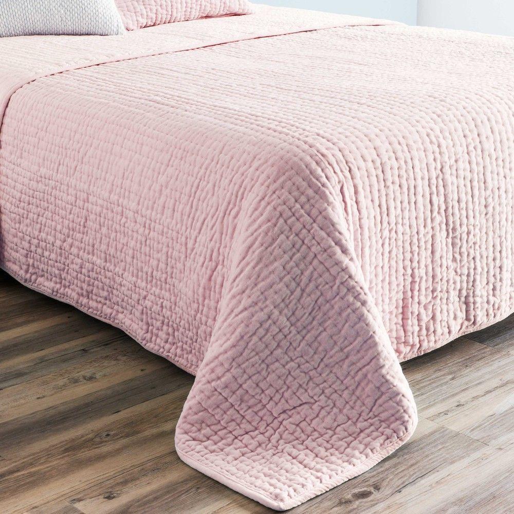 Boutis piqué en velours rose 240x260cm | Velvet quilt, Quilted ... : pink quilted bedspread - Adamdwight.com