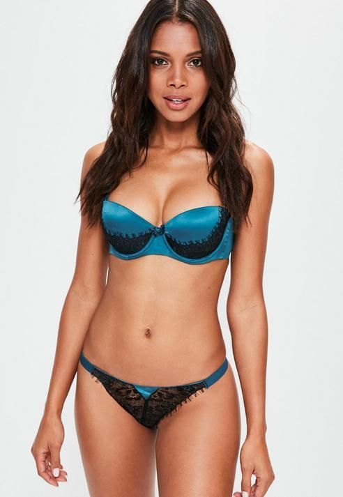 b257bfbb479 Missguided Blue Lace and Mesh Thong Lingerie Set