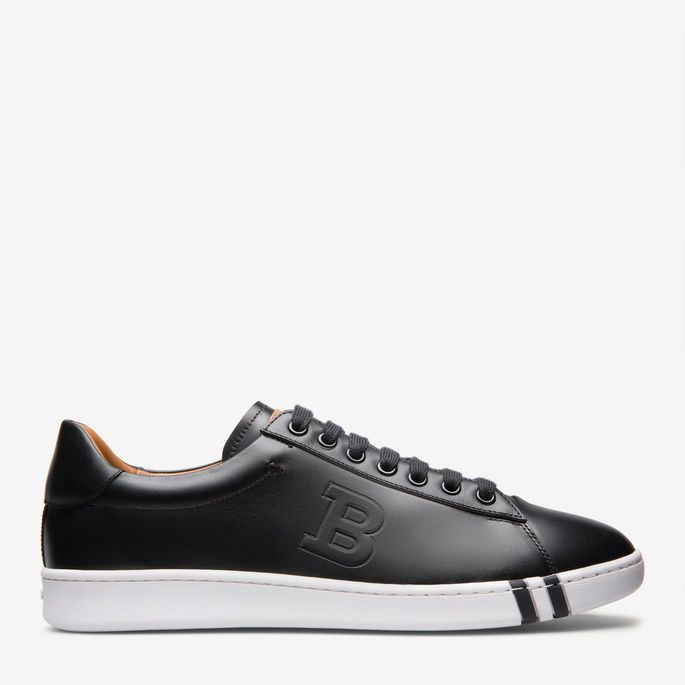 Asher Black, Mens leather trainer in black Bally