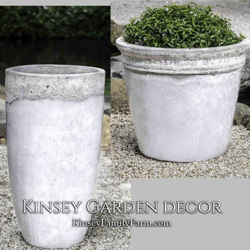 Kinsey Garden Decor Glazed Ceramic Distressed Planters White Large Extra Tall Indoor Outdoor Flowe White Ceramic Planter White Flower Pot Flower Pots Outdoor