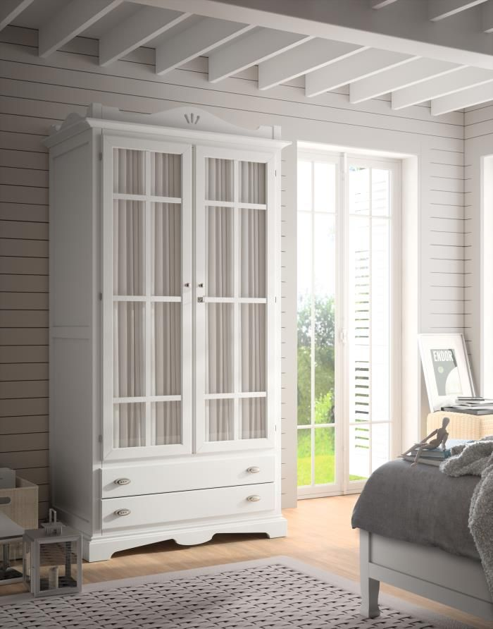 Armario decco 2 puertas visillo blanco tosca lacado armarios de dormitorio con encanto Visillos para puertas