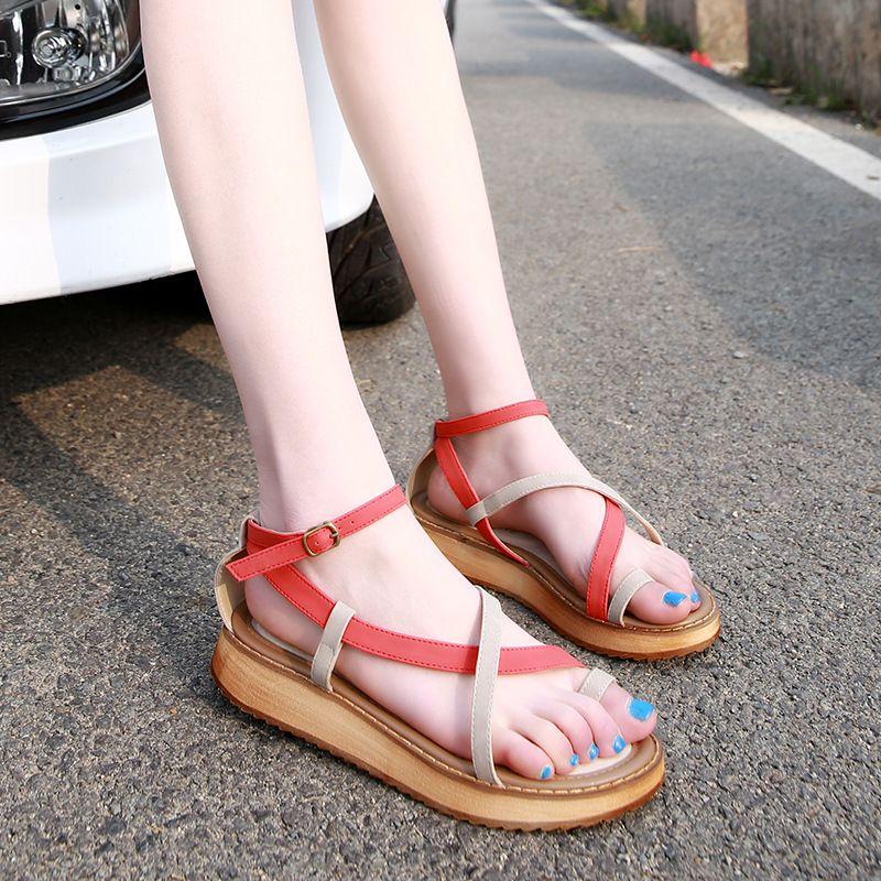 Women Summer Stylish Open Toe Platform Student Gladiator Roma Sandals Shoes