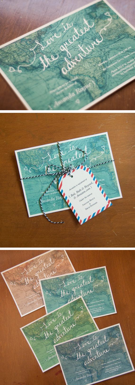 World map travel theme bridal shower invitation