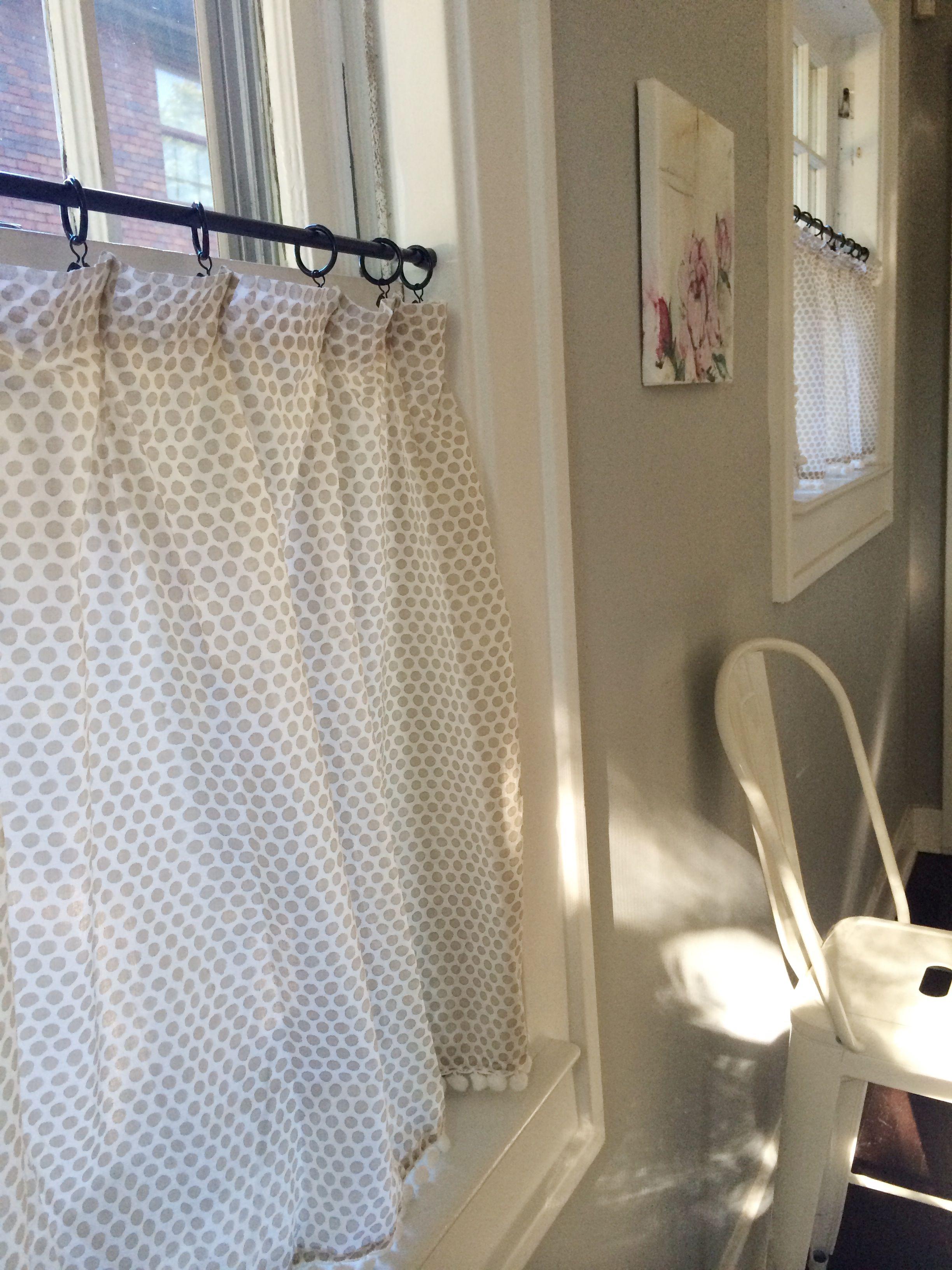 DIY Cafe Curtains. Love the gray polka dot and Pom Pom fringe.