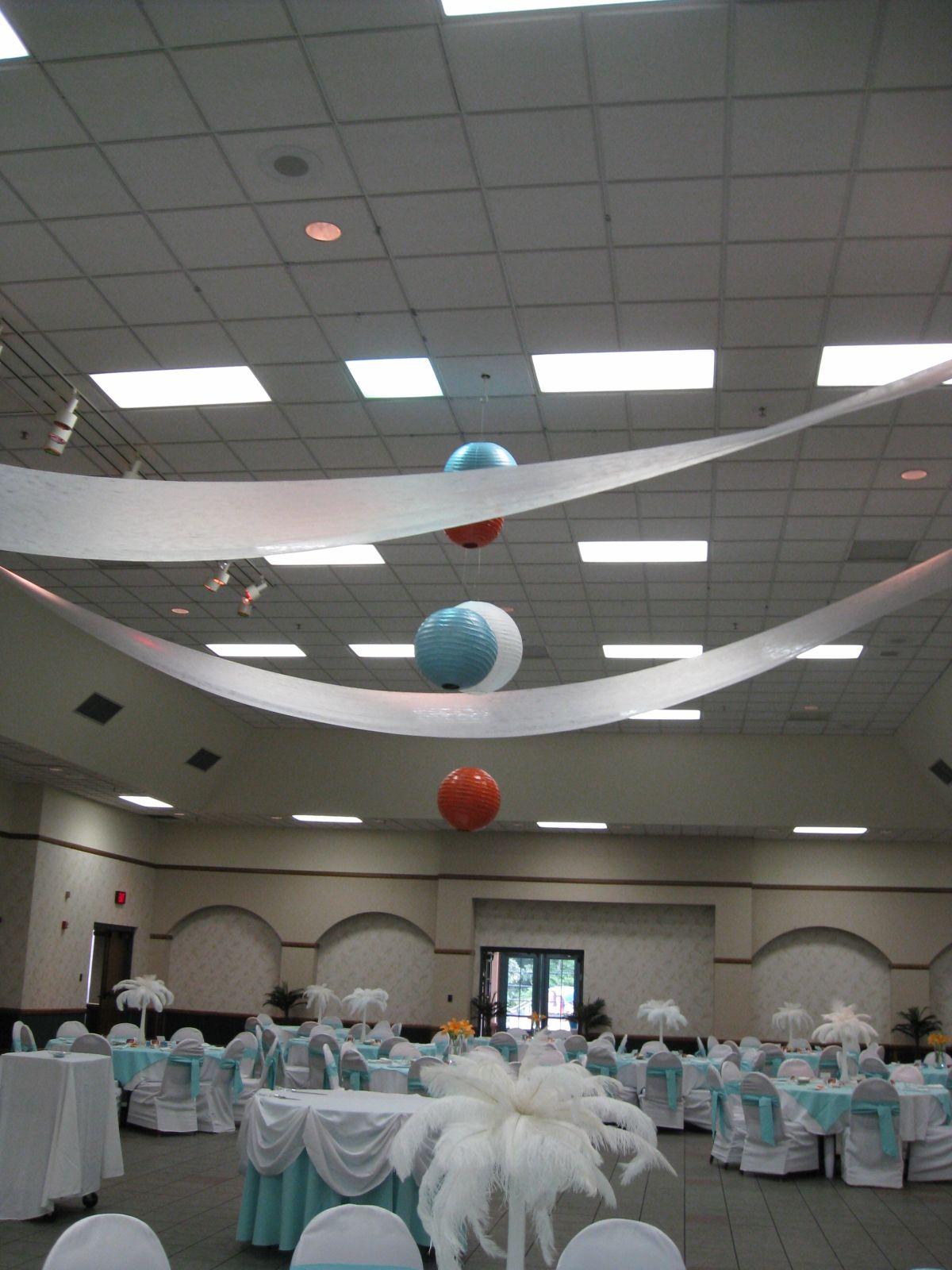 Orange white round lanterns ceiling treatments party