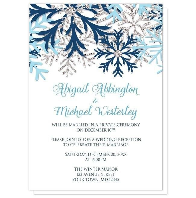 Small Ceremony Big Reception Invitations: Winter Blue Silver Snowflake Reception Only Invitations In