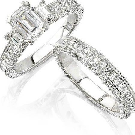 Natalie K Diamond Antique Style Platinum Engagement Ring Setting And